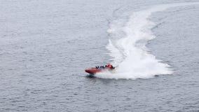 Bewegungsboot im Meer Stockfotografie