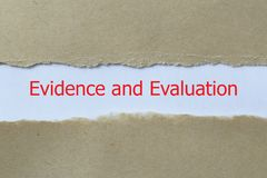 Beweis- und Bewertungsüberschrift lizenzfreies stockbild