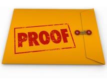 Beweis-Wort-Gelb-Umschlag-Überprüfungs-Beweis-Zeugnis Lizenzfreie Stockfotos