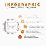 Bewerker, Hardware, Computer, PC, het Malplaatje van Technologieinfographics voor Website en Presentatie Lijn Grijs pictogram met royalty-vrije illustratie