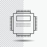 Bewerker, Hardware, Computer, PC, het Pictogram van de Technologielijn op Transparante Achtergrond Zwarte pictogram vectorillustr royalty-vrije illustratie