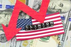 Bewertung Clinton fiel gegen Lizenzfreies Stockfoto