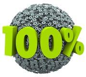 Bewertung des 100 Prozent-Ball-Bereich-komplette Gesamtausgezeichneten werts Lizenzfreies Stockbild
