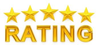 Bewertung mit fünf Sternen - Wiedergabe 3d Stockbild