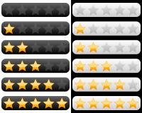 Bewertungs-Stab mit goldenen Sternen Stockfotos