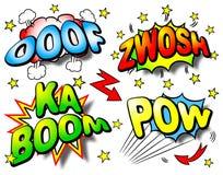 Bewirken Sie Blasen mit ooof, zwosh, Kaboom, Kriegsgefangen Lizenzfreies Stockfoto