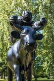 Bewirten Sie ` s Levitation über der blauen Kuh Kurzeme in der Hochsommernacht Lizenzfreies Stockbild