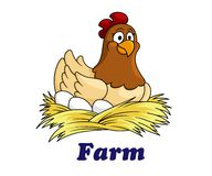 Bewirtschaften Sie Emblem mit einer Henne, die auf Eiern sitzt Lizenzfreie Stockfotografie