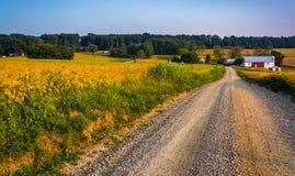 Bewirtschaften Sie entlang einem Schotterweg in ländlichem York County, Pennsylvania lizenzfreie stockfotos