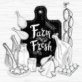 Bewirtschaften Sie Frischmarkt, Logodesign, gesunder Lebensmittelladen Satz des biologischen Lebensmittels Gute Nahrung Stockbilder