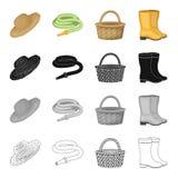 Bewirtschaften Sie Hut, Bewässerungsschlauch, Korb, Gummistiefel Schwärzen gesetzte Sammlungsikonen des Bauernhofes und des Gemüs stock abbildung