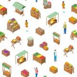 Bewirtschaften Sie isometrische Ansicht des lokaler Markt-nahtlose Muster-Hintergrund-3d Vektor Lizenzfreie Abbildung