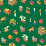 Bewirtschaften Sie isometrische Ansicht des lokaler Markt-nahtlose Muster-Hintergrund-3d Vektor Vektor Abbildung