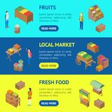 Bewirtschaften Sie isometrische Ansicht lokale des Markt-Fahnen-horizontale Satz-3d Vektor Lizenzfreie Abbildung