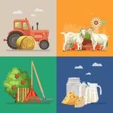 Bewirtschaften Sie ländliche Landschaft mit Ziegen, Molkerei, Traktor, Apfelbaum Linie Kunst Landwirtschafts-Vektor-Illustration lizenzfreie abbildung