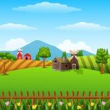 Bewirtschaften Sie Landschaft mit Halle und brauner Windmühle auf Tageslicht stock abbildung
