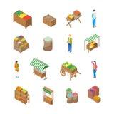 Bewirtschaften Sie lokale isometrische Ansicht der Markt-Konzept-Ikonen-3d Vektor Lizenzfreie Abbildung