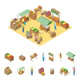 Bewirtschaften Sie lokales Markt-Konzept und isometrische Ansicht der Element-3d Vektor Stock Abbildung