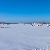 Bewirtschaften Sie mit einer Scheune und Pferden im Winter Stockfotografie