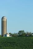 Bewirtschaften Sie mit Sojabohnenölbohnen und -silo im Land lizenzfreie stockfotografie