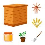 Bewirtschaften Sie und Gartenarbeitkarikaturikonen in der Satzsammlung für Design Bauernhof und Ausrüstung vector Netzillustratio Lizenzfreies Stockfoto