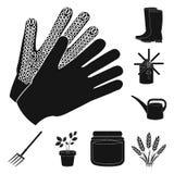 Bewirtschaften Sie und im Garten arbeitende schwarze Ikonen in der Satzsammlung für Design Bauernhof und Ausrüstung vector Netzil Stockbild