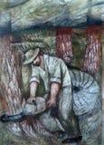 Bewohner von Hohenberg arbeiten in den Wäldern, Fresko auf der Wand des Pilgerfahrthauses von St James in Hohenberg, Deutschland lizenzfreies stockfoto