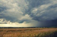 Bewolkt de zomerlandschap stock afbeeldingen