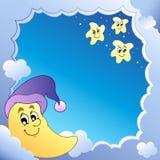 Bewolkt frame met Maan 1 Stock Foto