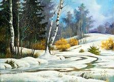 Bewolkt moeras, de winterdag vector illustratie
