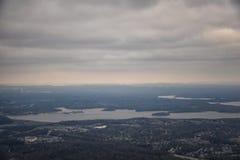 Bewolkt Onweer, Satellietbeeld van J Percy Priest Reservoir buiten Nashville Tennessee stock fotografie