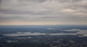 Bewolkt Onweer, Satellietbeeld van J Percy Priest Reservoir buiten Nashville Tennessee royalty-vrije stock foto