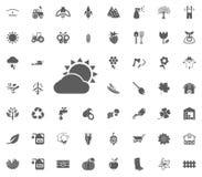 Bewolkt zonpictogram Het tuinieren en geplaatste hulpmiddelen vectorpictogrammen Royalty-vrije Stock Afbeelding