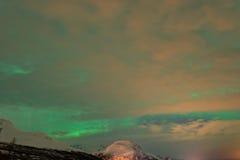Bewolkte Aurora Borealis, Noordelijke Lichten Royalty-vrije Stock Fotografie
