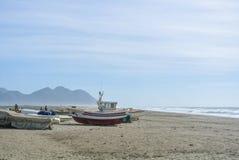 Bewolkte dag bij het eenzame strand Royalty-vrije Stock Fotografie