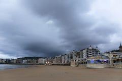 Bewolkte dag in San Sebastian, Spanje Royalty-vrije Stock Afbeeldingen