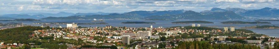 Bewolkte dag in Stavanger, Noorwegen. Stock Afbeeldingen