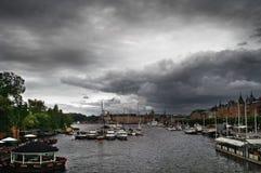 Bewolkte Dag in Stockholm Stock Afbeelding