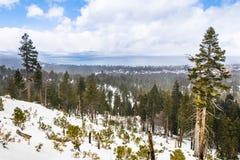 Bewolkte de lentedag met sneeuw die de Siërra Bergen, Meer Tahoe op de achtergrond behandelen; Van Sickle Bi-State Park; Californ royalty-vrije stock foto's