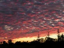 Bewolkte hemel bij zonsondergang royalty-vrije stock afbeeldingen