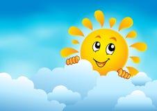 Bewolkte hemel met het sluimeren van zon 1 Royalty-vrije Stock Foto's