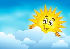 Bewolkte hemel met het sluimeren van zon 3 Royalty-vrije Stock Foto's