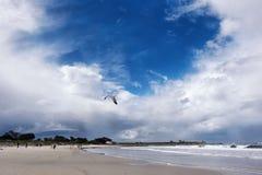 Bewolkte hemel op het Vreedzame oceaanstrand Stock Foto's