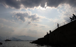Bewolkte hemel over Antalya; Stock Fotografie