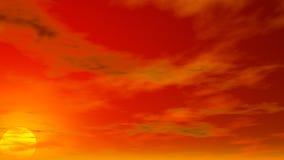 Bewolkte Hemelillustratie met het plaatsen van zon Stock Foto