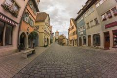 Bewolkte ochtend in Rothenburg Ob Der Tauber Royalty-vrije Stock Foto's