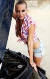 Bewoman repairing the car Stock Photo