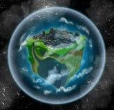Bewoonbare planeet die als een kubus kijkt stock illustratie