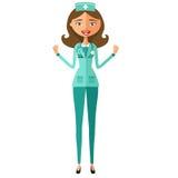 Bewundern Sie flaches vec Karikatur der jungen glücklichen emotionalen Krankenschwesterfrau Doktors Stockfotos