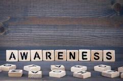 Bewusstseinswort geschrieben auf hölzernen Block Dunkler hölzerner Hintergrund mit Beschaffenheit Lizenzfreie Stockbilder